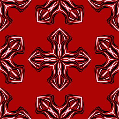 Blommig Sömlös Bakgrund Svart Och Vitt Blommönster På Rött-vektorgrafik och fler bilder på Abstrakt