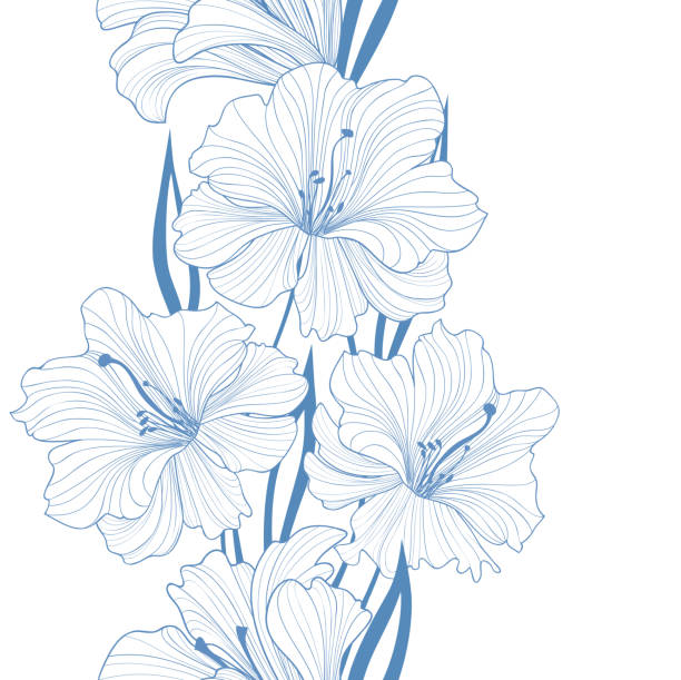 Floral seamless background. Flower pattern. Border with flowers. Floral seamless pattern. Flower background. Border with flowers. Flourish tiled wallpaper lily stock illustrations