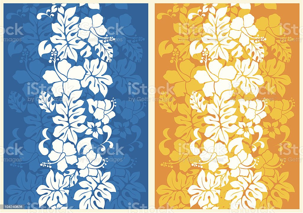 A floral seamless background, one blue the other gold vector art illustration