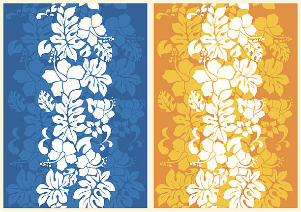 A floral seamless background, one blue the other gold Hawaiian Floral Seamless Background with Hibiscus hawaiian culture stock illustrations