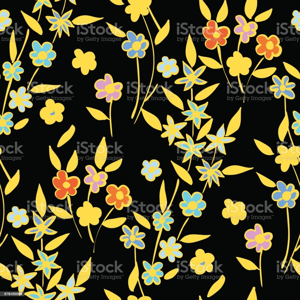 Floral seamless background pattern spring - summer season. Vector illustration for textile, wrapping paper, wallpaper, сurtains. royalty-free floral seamless background pattern spring summer season vector illustration for textile wrapping paper wallpaper Ñurtains stock vector art & more images of arrangement