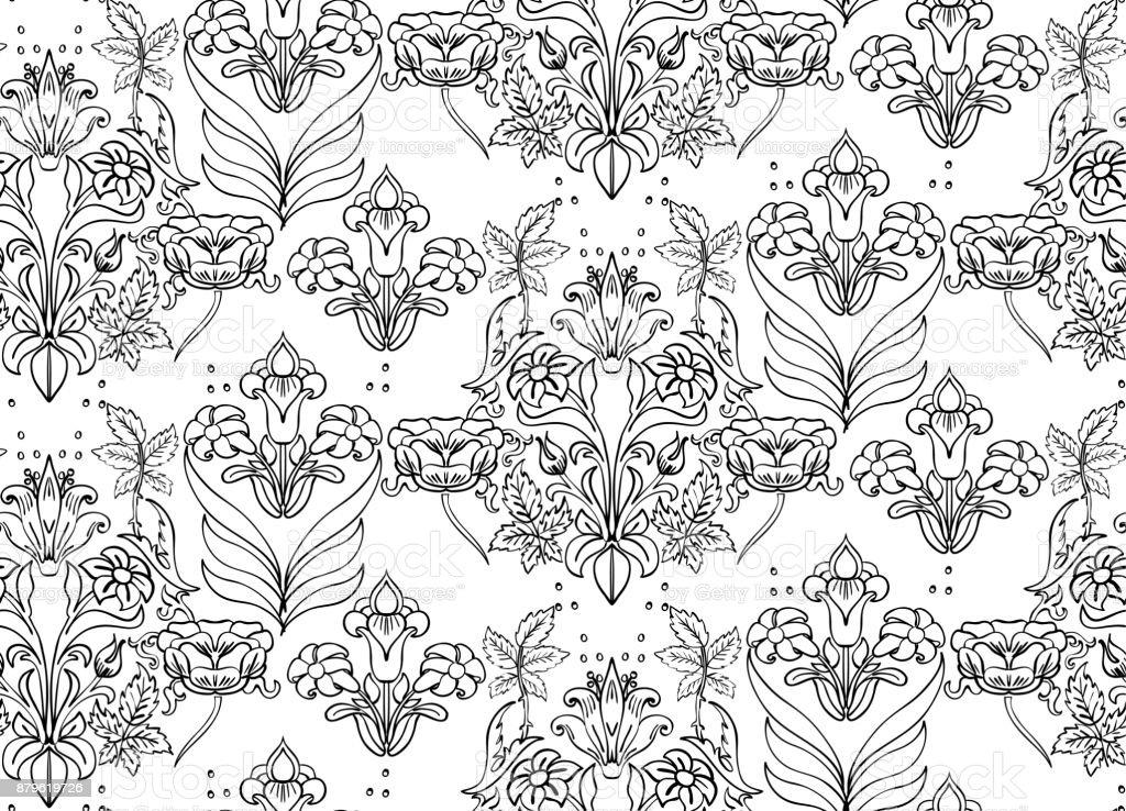 Patrón De Fondo Transparente Floral Con Fantasía Flores Y Arte De ...