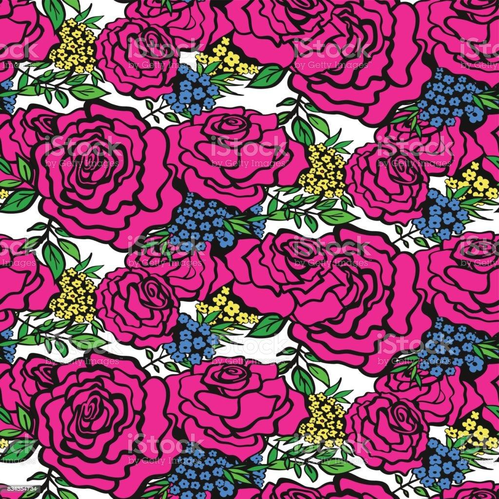 バラ花のシームレスな背景パターン春 夏のシーズン繊維包装紙壁紙