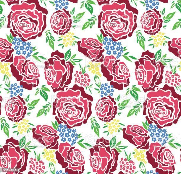 Floral seamless background pattern with roses spring summer season vector id835408994?b=1&k=6&m=835408994&s=612x612&h=sij1ekhukl0dmyrb87bi30gceautk1vxnllngo7af4u=