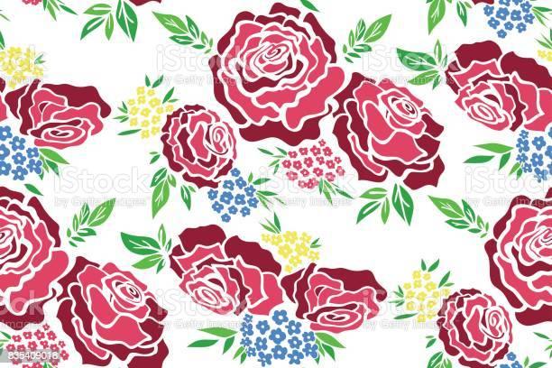 Floral seamless background pattern with roses spring summer season vector id835409018?b=1&k=6&m=835409018&s=612x612&h=3jhwlddprbx4wphip1ezasxakt9bz08ez04upqh34hi=