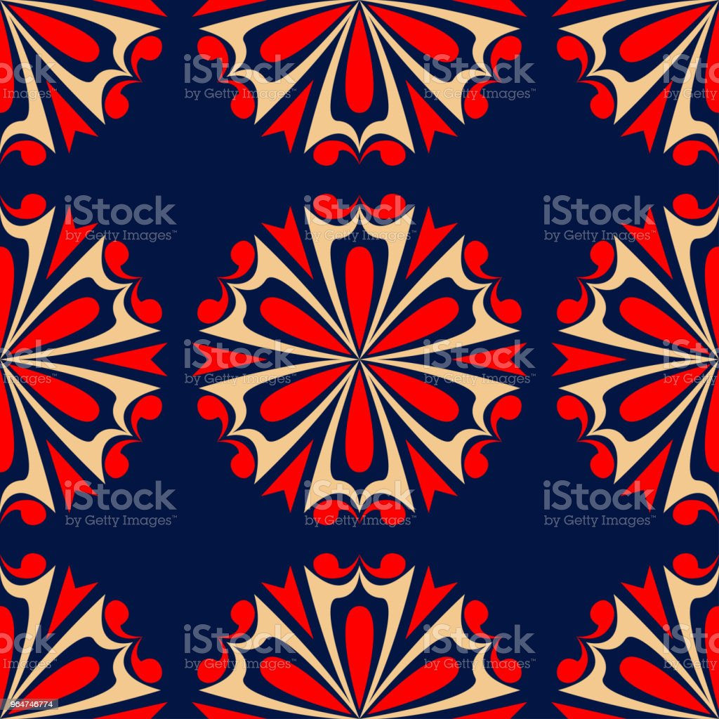 Floral seamless background. Red and beige flower elements on blue background royalty-free floral seamless background red and beige flower elements on blue background stock vector art & more images of abstract