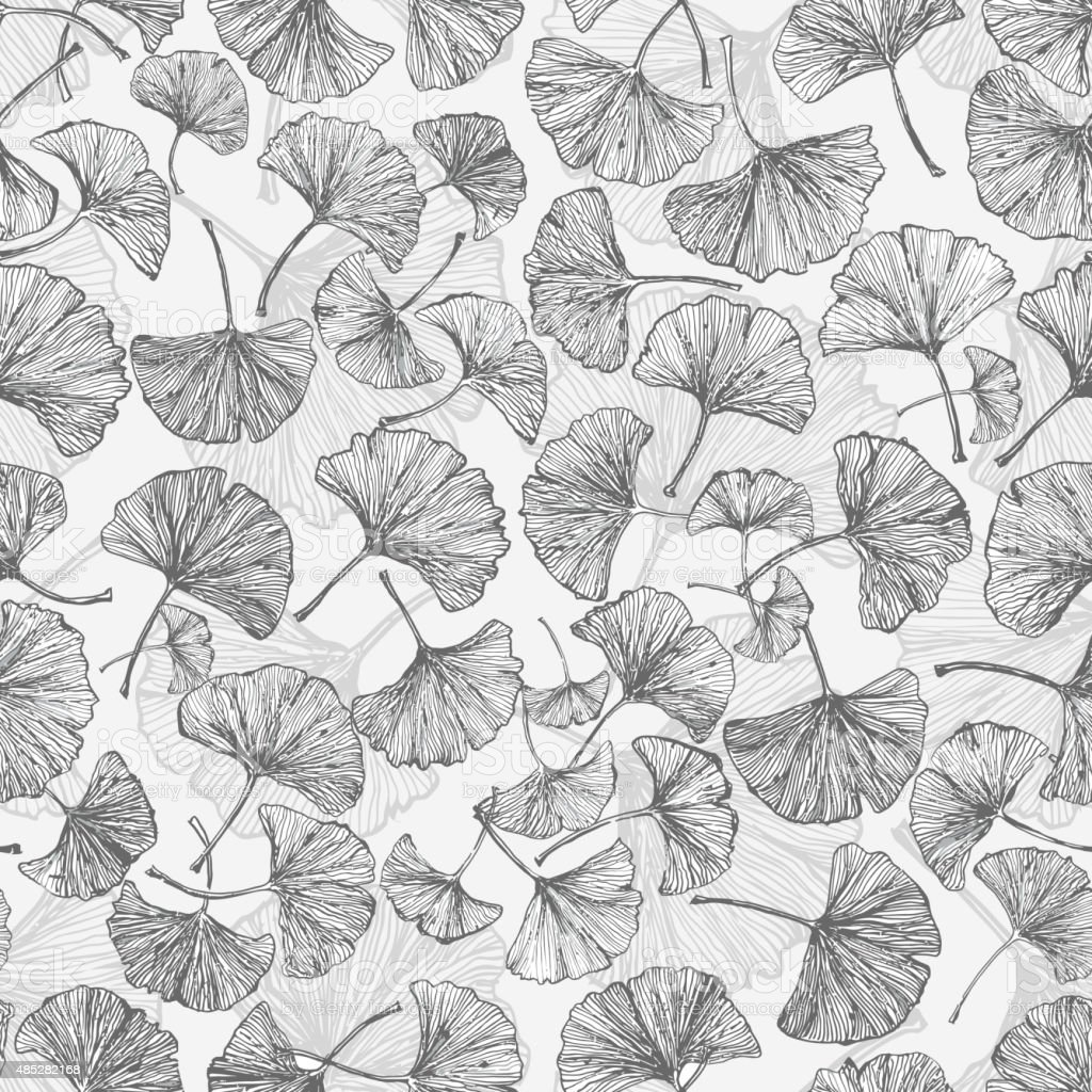 Floral seamless background with ginkgo leaves. vector art illustration