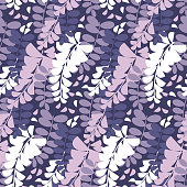 Floral seamless color pattern. Wisteria flowers vintage texture. Violet blooming soft background. Spring acacia purple blossom. Decorative natural textile, wallpaper, wrapping paper vector fill