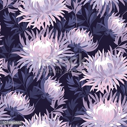 Floral seamless color pattern. Purple blooming flowers vintage texture. Violet blossoming asters, chrysanthemums soft background. Decorative natural textile, wallpaper, wrapping paper vector fill