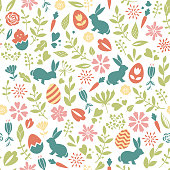 Floral seamless easter pattern with eggs, bunnies, flowers and branches. For spring design, greeting cards, posters, invitations, fabrics, scrapbooking, gift wrap, wallpapers. Vector easter background