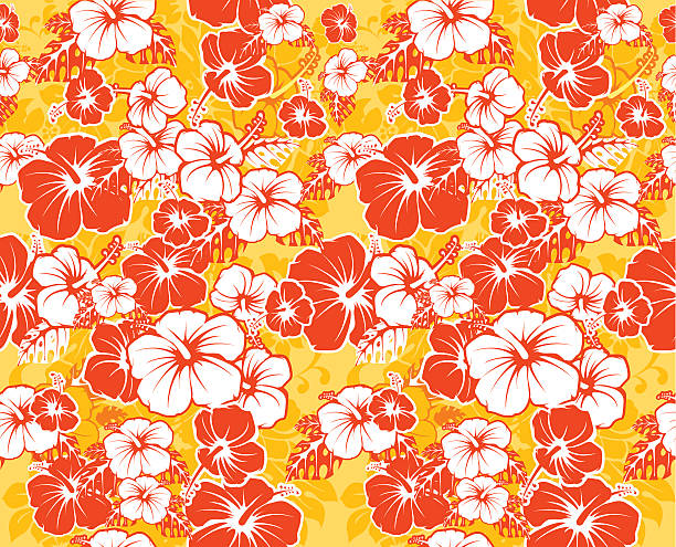 Floral seamless Hawaiian background with hibiscus flowers Floral seamless Hawaiian background with hibiscus flowers hawaiian culture stock illustrations