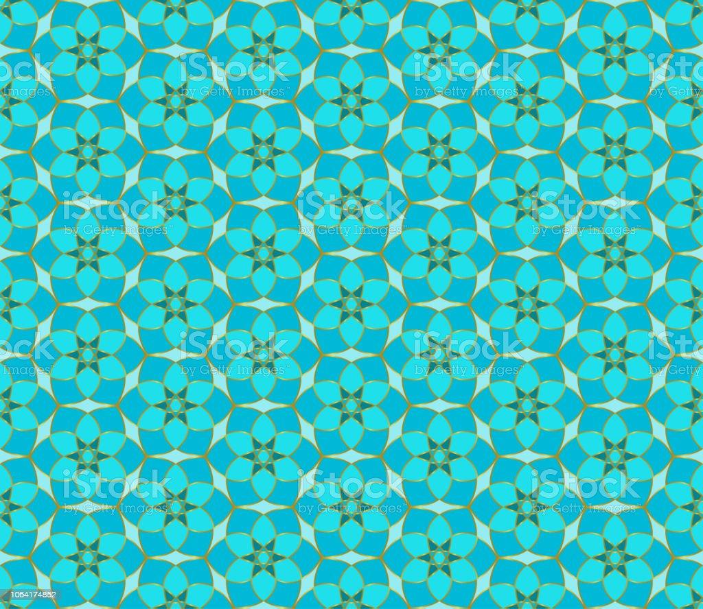 花のシームレスなレース パターン幾何学的なモザイクの背景ミント