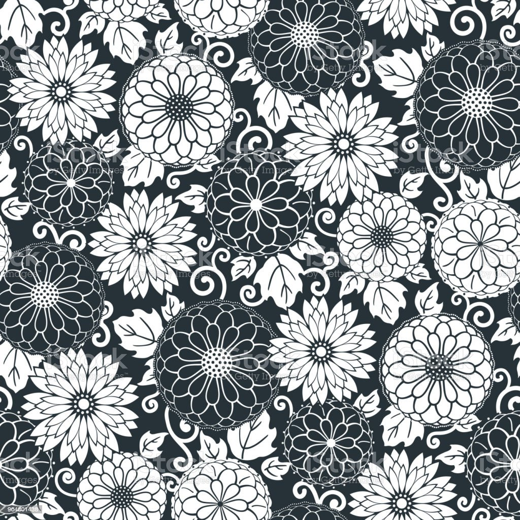 Floral seamless pattern background. Ornament with stylized flowers, leaves and twirls. Classical monochrome design royalty-free floral seamless pattern background ornament with stylized flowers leaves and twirls classical monochrome design stock vector art & more images of abstract