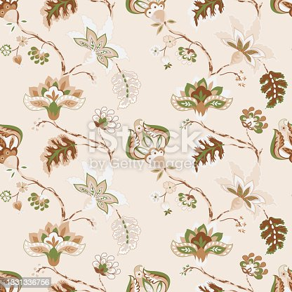 istock Floral seamless pattern, background. Whimsical flowers Jacobean style on a pastel beige background 1331336756