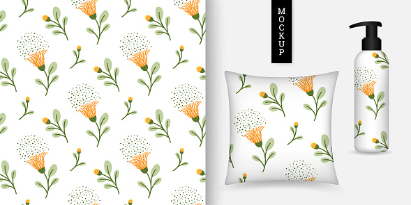 Floral seamless pattern. Beautiful botanical background. Vector illustration. Modern ornament with blooming flowers.