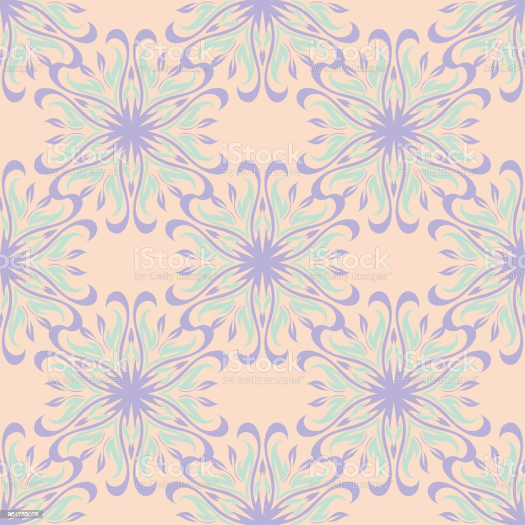 Floral seamless pattern. Beige background with violet and blue flower elements royalty-free floral seamless pattern beige background with violet and blue flower elements stock vector art & more images of abstract