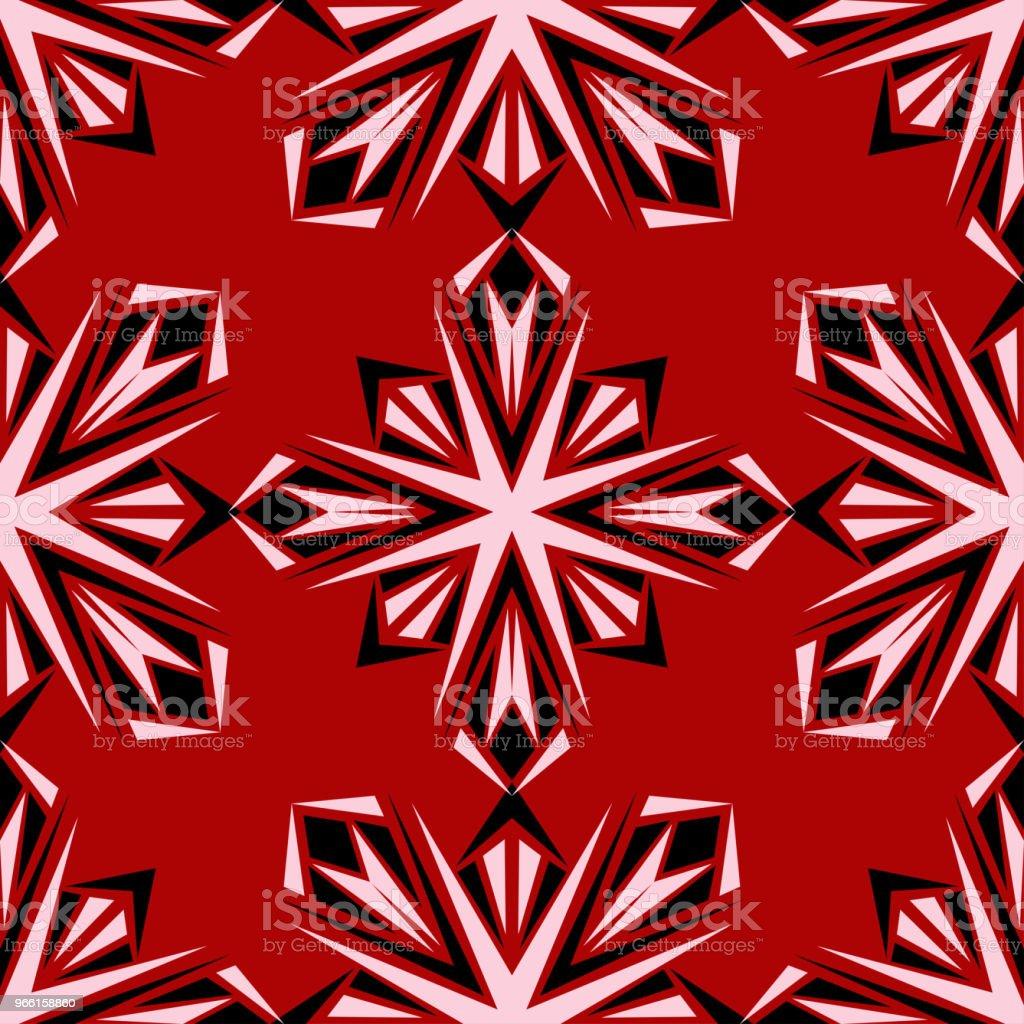 Floral seamless pattern. Black and white design on red background - Векторная графика Абстрактный роялти-фри