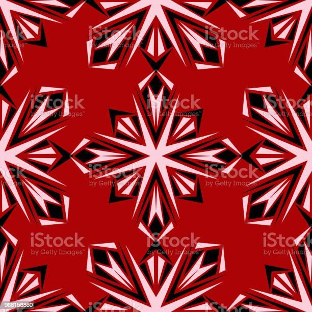 Floral Seamless Pattern Black And White Design On Red Background - Arte vetorial de stock e mais imagens de Abstrato