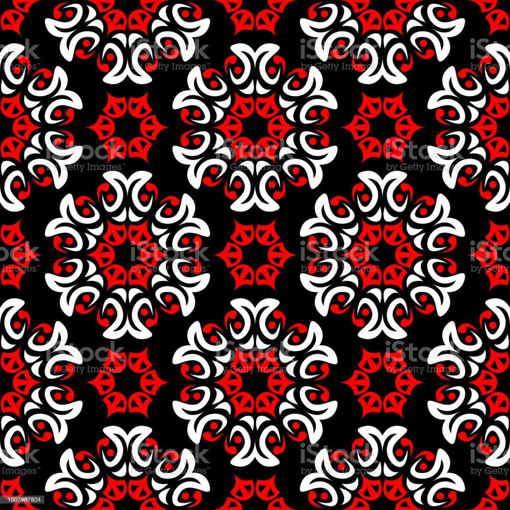 花のシームレスなパターン壁紙テキスタイルファブリックの黒赤と白背景