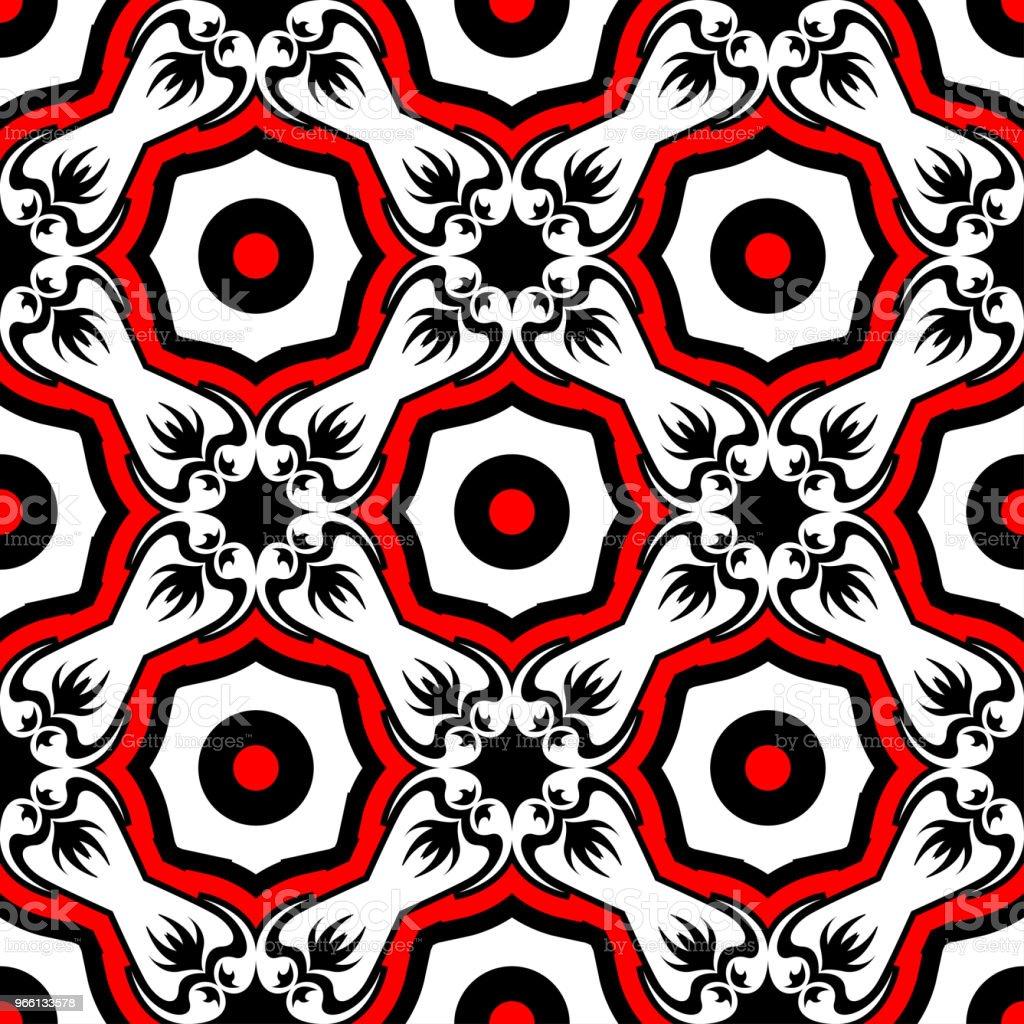 Sömlös blommönster. Svart röd och vit bakgrund för tapeter, textil och tyger - Royaltyfri Abstrakt vektorgrafik
