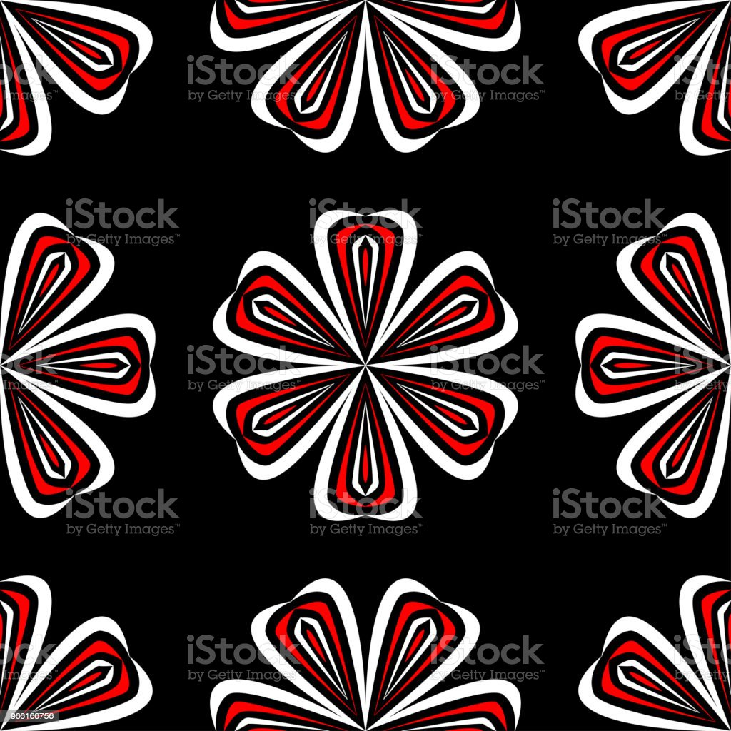Floral seamless pattern. Black red and white background for wallpapers, textile and fabrics - Векторная графика Абстрактный роялти-фри