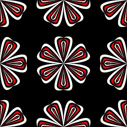 Floral Seamless Pattern Black Red And White Background For Wallpapers Textile And Fabrics — стоковая векторная графика и другие изображения на тему Абстрактный