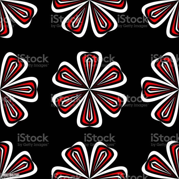 Sömlös Blommönster Svart Röd Och Vit Bakgrund För Tapeter Textil Och Tyger-vektorgrafik och fler bilder på Abstrakt
