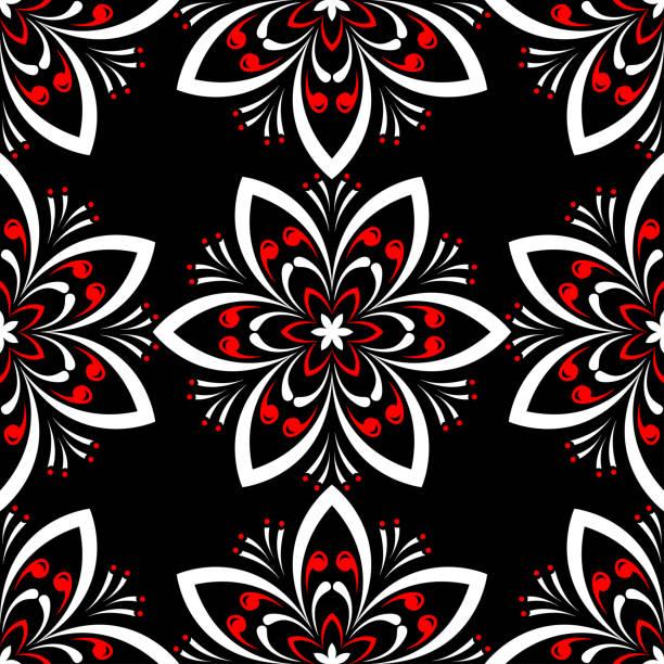 Floral seamless pattern. Black red white background vector art illustration