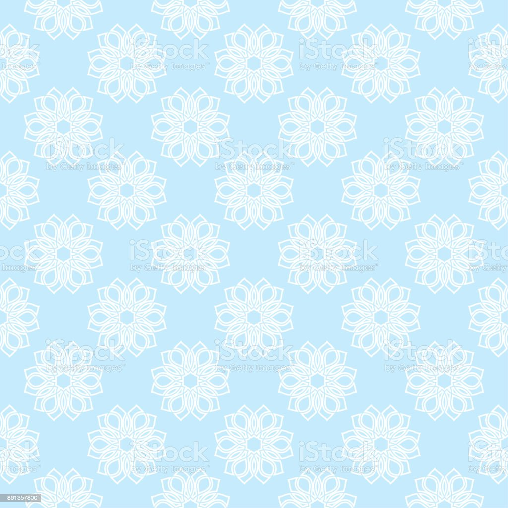 Floral Seamless Pattern Blue Wallpaper Background Stock