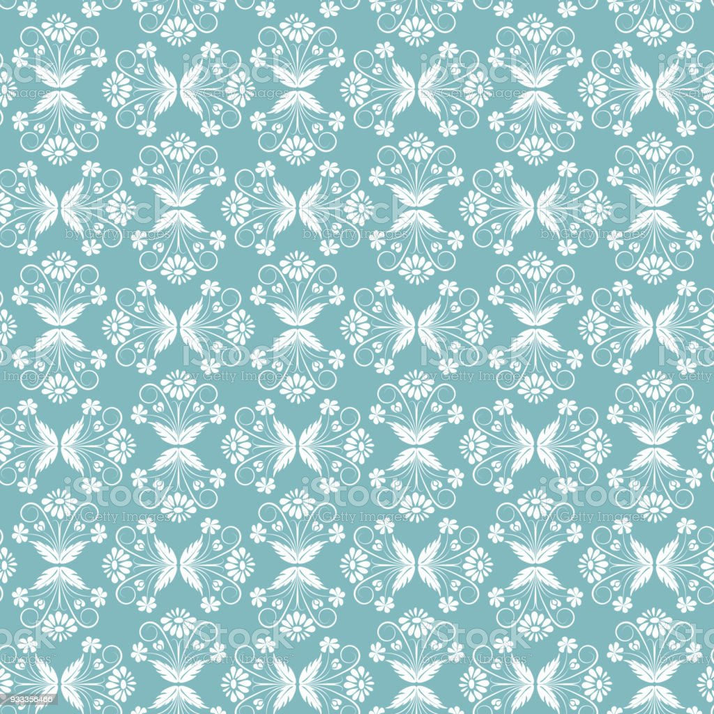 Floral Seamless Pattern Blue Wedding Background Vector Illustration Abstract Royalty Free
