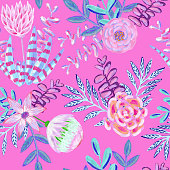 Floral Seamless Pattern. Bouquet with Hand Drawn Leaves, Flowers and Succulents Isolated on Pink Background. Oil, Acrylic Painting Floral Pattern. Design Element for Greeting Cards and Wedding, Birthday and other Holiday and Summer Invitation Cards Background.