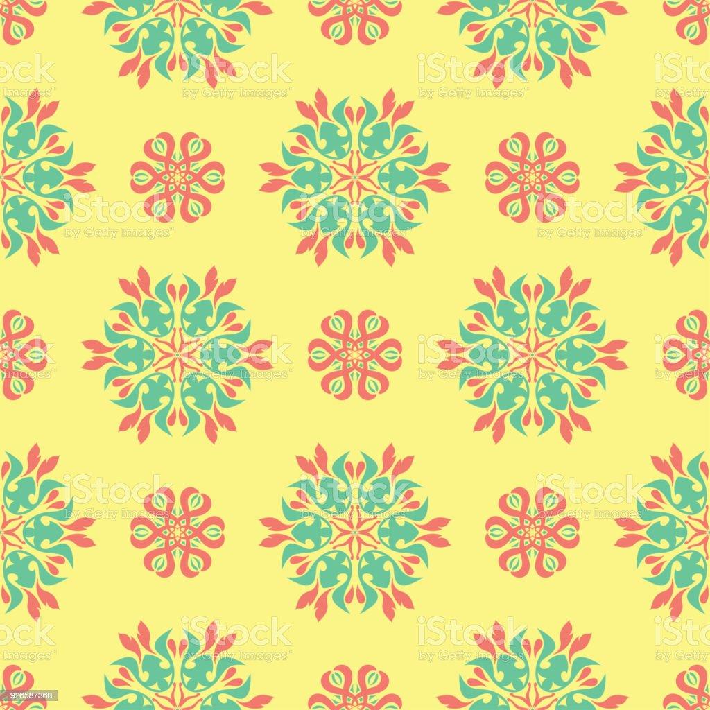 花のシームレスなパターン明るい色の背景壁紙のピンクと緑の花の要素に