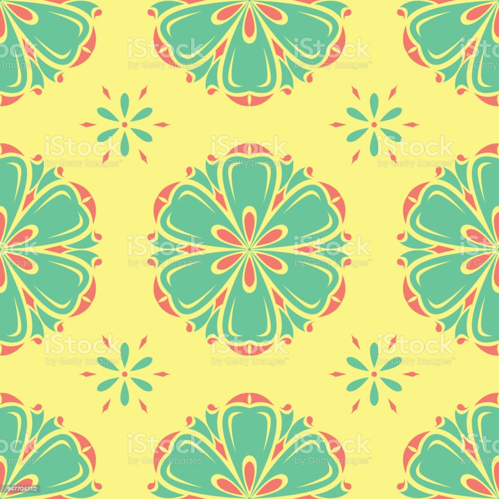 Floral Seamless Pattern Bright Colored Background With Pink And