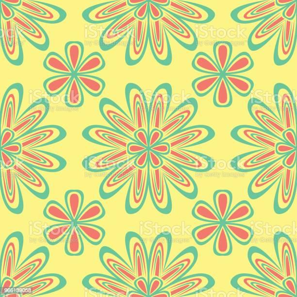 Sömlös Blommönster Ljust Färgad Bakgrund Med Rosa Och Grön Blomma Element-vektorgrafik och fler bilder på Abstrakt