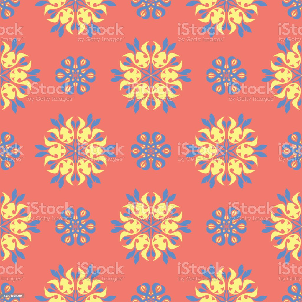 Floral Seamless Pattern Bright Pink Orange Background With Yellow