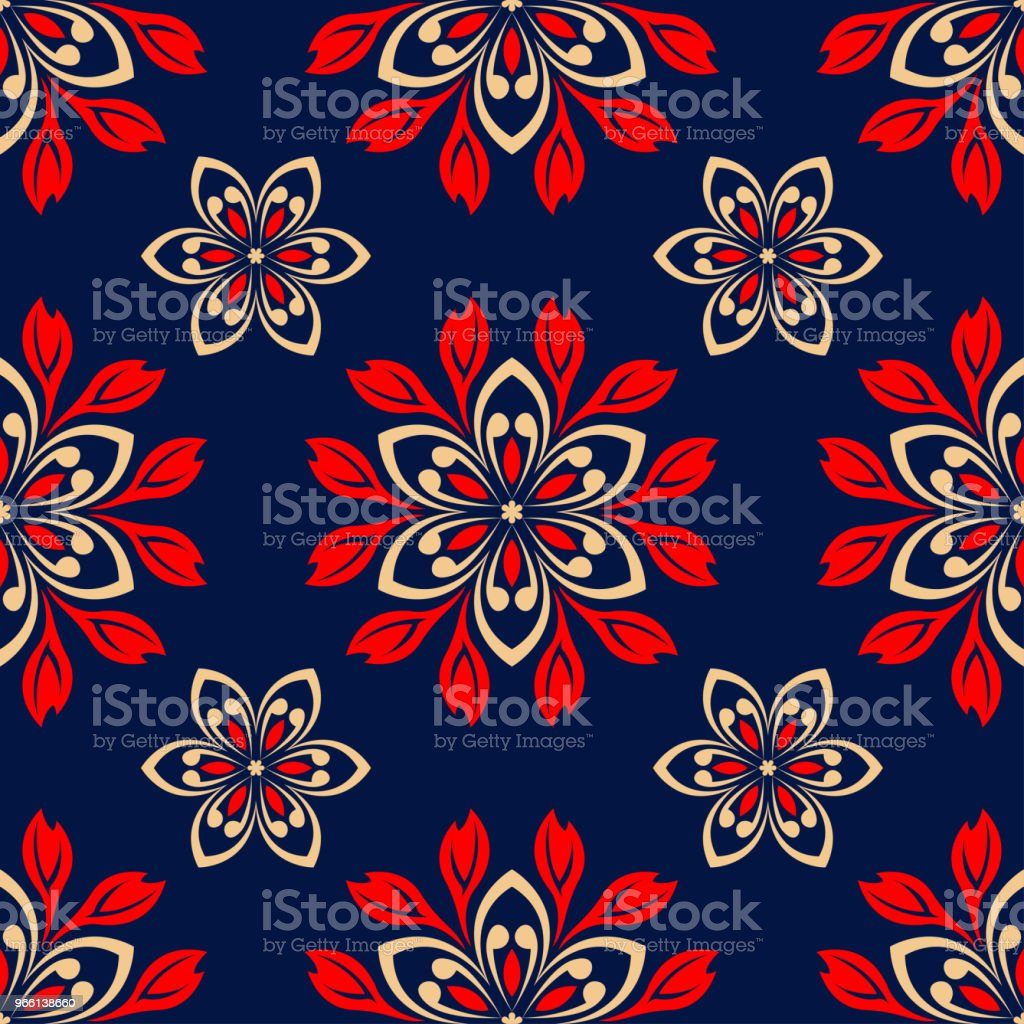Floral seamless pattern. Colored red and blue background - Royalty-free Abstrato arte vetorial