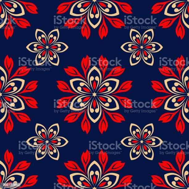 Sömlös Blommönster Röda Och Blå Tonplatta-vektorgrafik och fler bilder på Abstrakt