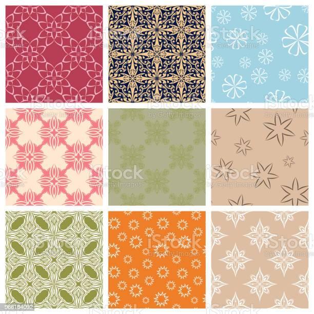 Motivo Floreale Senza Cuciture Set Colorato Con Elementi Floreali - Immagini vettoriali stock e altre immagini di Arabesco - Motivo ornamentale