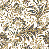 Floral pattern. Flourish tiled oriental ethnic background. Arabic ornament with fantastic flowers and leaves. Wonderland motives of the paintings of ancient Indian fabric patterns.