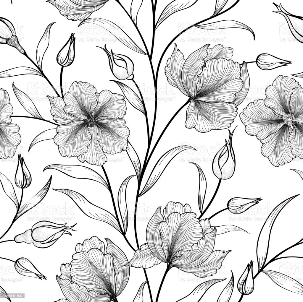 Flower garden sketch - Floral Seamless Pattern Flower Background Flourish Garden Sketch Royalty Free Stock Vector Art