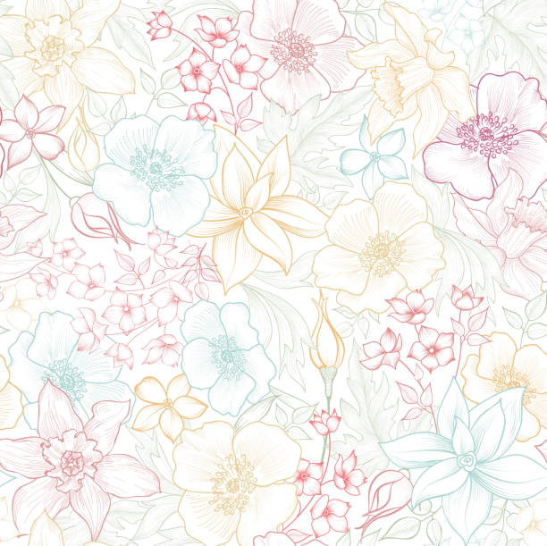 Floral seamless pattern. Flower background. Flourish garden texture with flowers. Floral seamless pattern. Flower background. Flourish garden texture with flowers. extreme close up stock illustrations