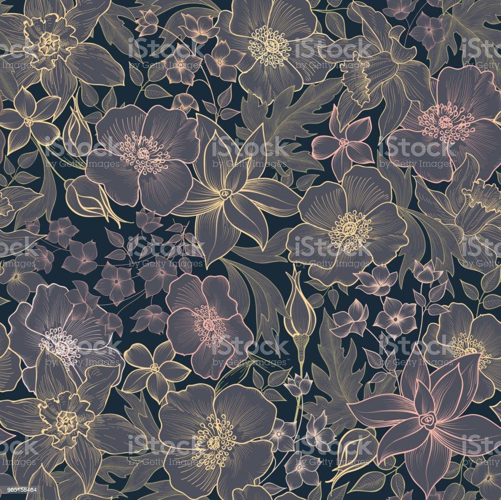 Floral seamless pattern. Flower background. Flourish garden texture with flowers. floral seamless pattern flower background flourish garden texture with flowers - stockowe grafiki wektorowe i więcej obrazów botanika royalty-free