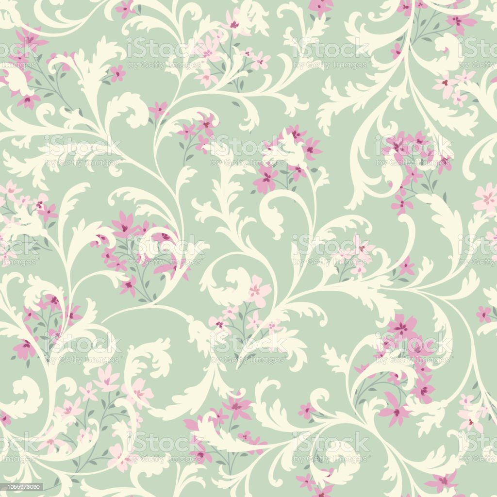 Floral Seamless Pattern Flower Background Flourish Garden Textured