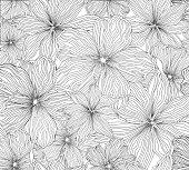 Floral seamless pattern Flower background Flourish line sketch