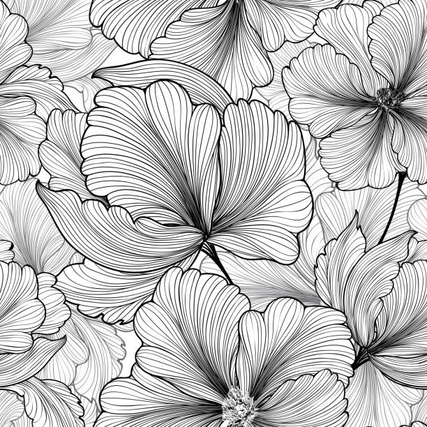 Floral seamless pattern Flower background Flourish stripped petals sketch Floral seamless pattern. Flower background. Floral tile ornamental texture with flowers. Spring flourish garden monochrome stock illustrations