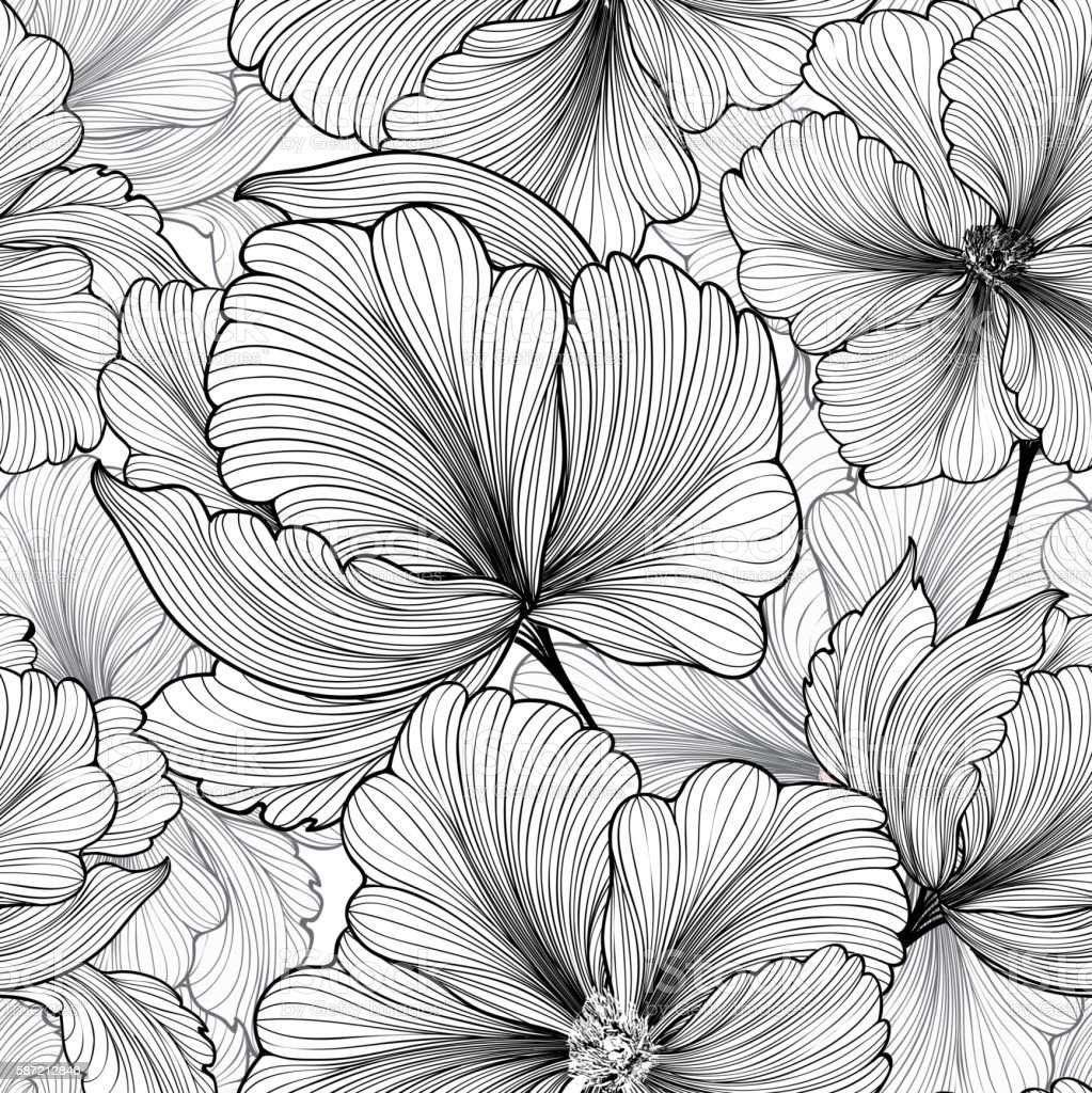 Floral seamless pattern Flower background Flourish stripped petals sketch – Vektorgrafik