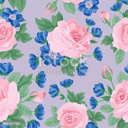 Floral Seamless Pattern Flower Background Garden Texture Stock Vector Art & More Images of Affectionate 965157700