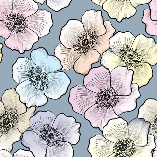 Floral seamless pattern. Flower background. Floral seamless pattern. Flower background. Floral tile ornamental texture with flowers. Spring flourish garden wild rose stock illustrations