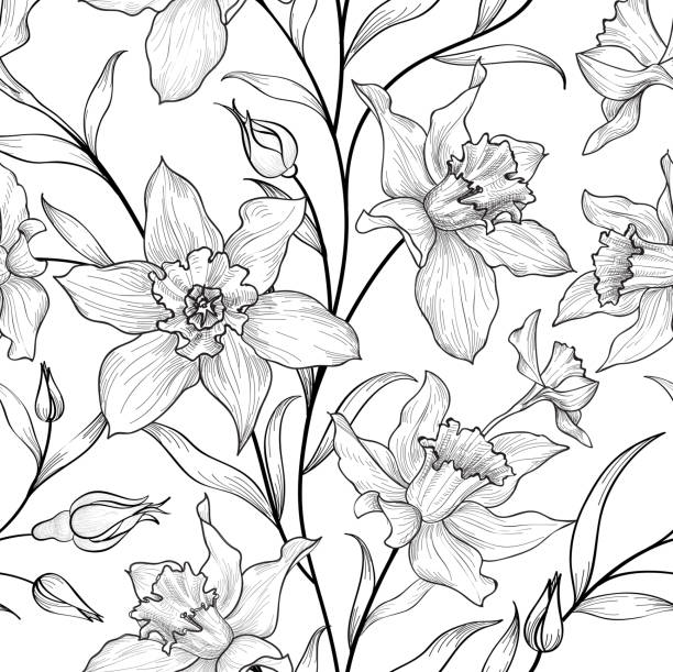 Floral seamless pattern. Flower black and white background. Floral seamless pattern. Flower black and white background. Florals engraving texture with flowers. Flourish tiled wallpaper daffodil stock illustrations