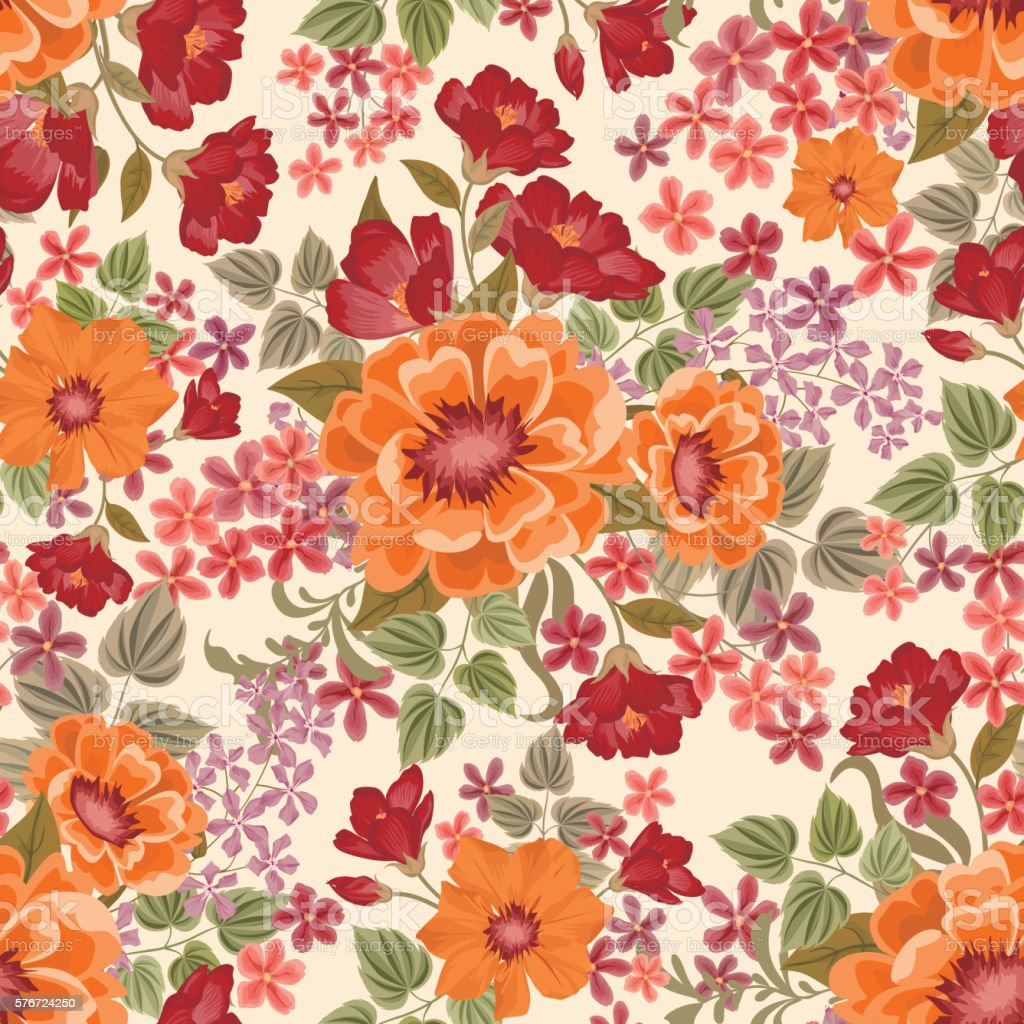 Floral Seamless Pattern Flower Bouquet Background Ornamental Posy